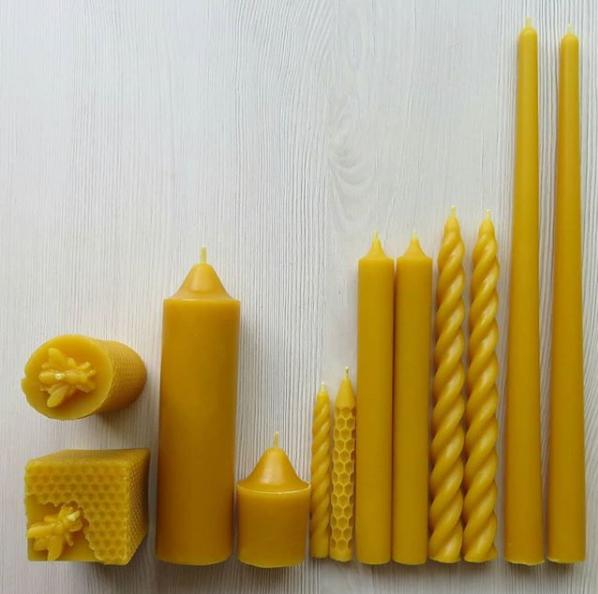 Left Top: Bee Pillar. Bottom Left: Bee Column. Left to right: Benjamin, Aaron, Spiral Birthday Candle, Honeycomb Birthday Candle, Raphael (pair), Bianca (pair), Jacob (pair)