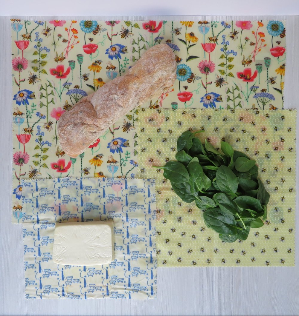 Honey Bee Wrap is perfect for keeping bread, cheese and herbs fresher for longer. This is a plastic-free way to reduce the 40% of fresh food waste from UK supermarkets