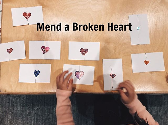 Mend a Broken Heart: I love ❤️ s Bc it's perfectly symmetrical and symmetry is one of the most powerful concepts when learning numbers and  mathematics 🧮. . . This is a perfect 3-4 step direction (for 3-4 year olds) that involves planning & sequencing, attention & concentration and working memory. . . Step 1: Place ❤️ sticker in middle of index card. Step 2: Cut ❤️ in half . Step 3: Match the hearts up . Step 4: Mend the broken hearts with tape. No more heart breaks! #hearts #valentinesday #mendabrokenheart #playingwithchanel