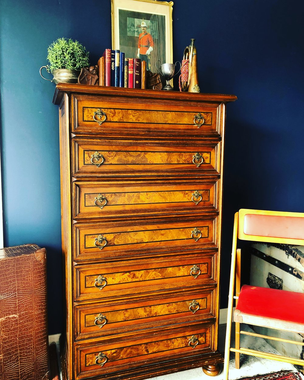 Vintage Tallboy with antique books