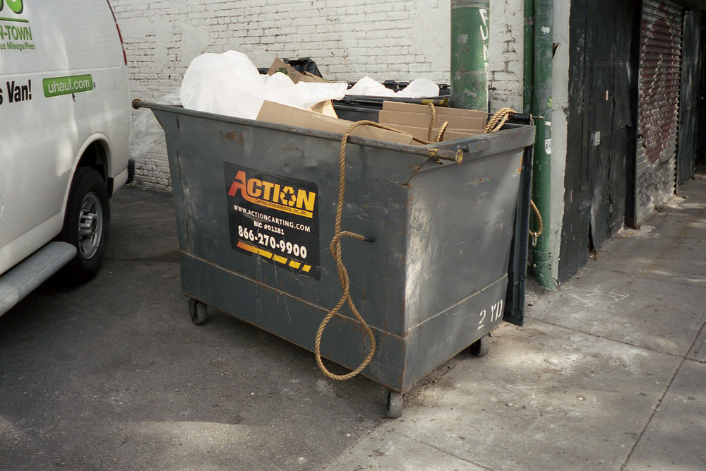 A garbage container