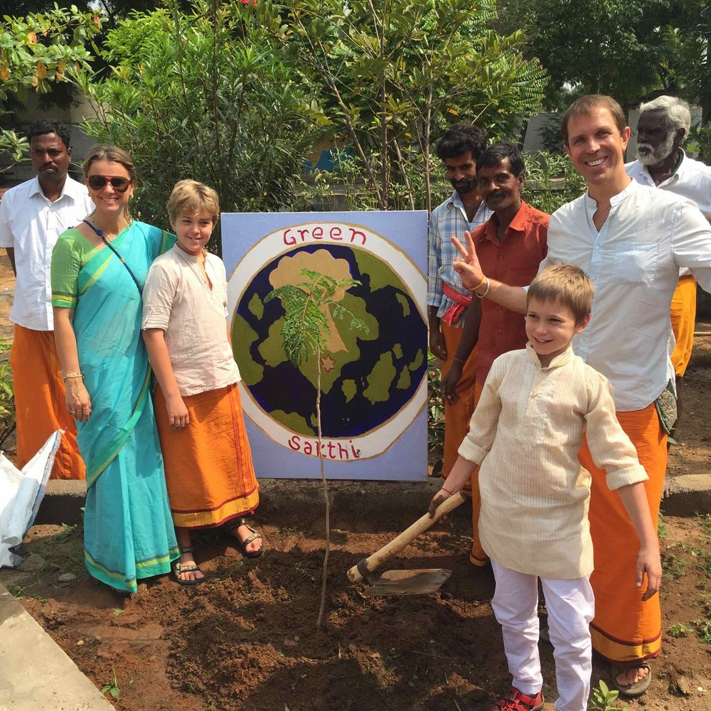 "Adam from USA, celebrated his 8th birthday in planting a tree. When asked why he loves doing Green Sakthi seva, he answered, ""Without nature, we don't have anything."""