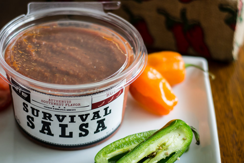 Survival Salsa - Say hello to the main event in our salsa lineup here at Tactical Foods Inc.. There's a reason we call it Survival Salsa - it's a traditional southwest recipe that packs a punch!Salsa pairing: Chips, hamburgers & scrambled eggs