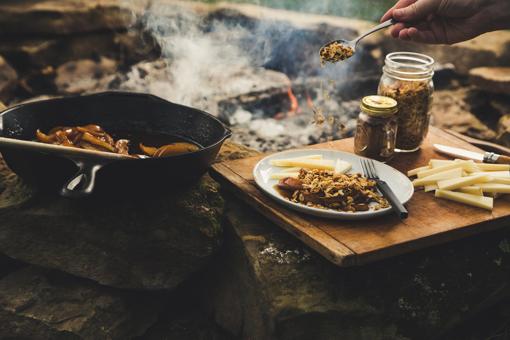 Campfire Pear Crumble with Le Gruyère - recipe, styling and photography for Emmi USA