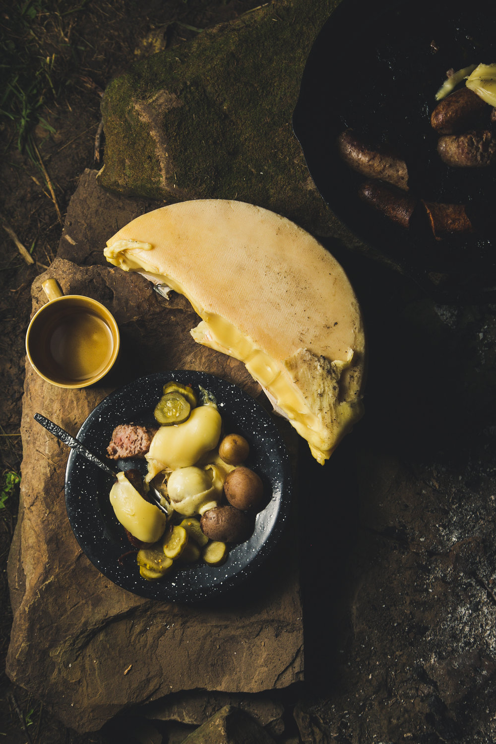 Raclette by the campfire - styling and photography for Emmi USA