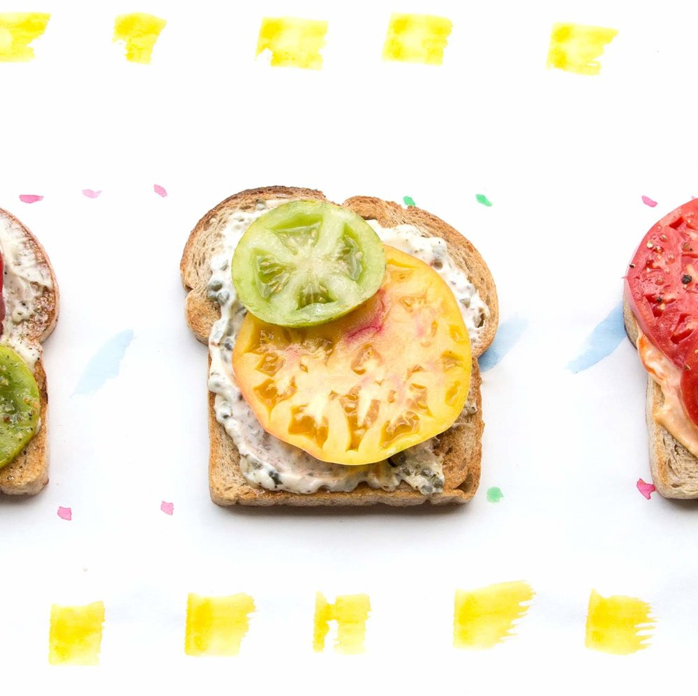 Summer tomato toasts on watercolor