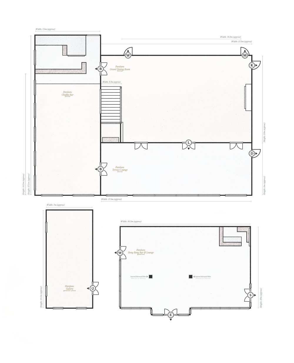 Hopewood House - Pavilion - Floor Plans (Ground Level + Level One) - Measurements