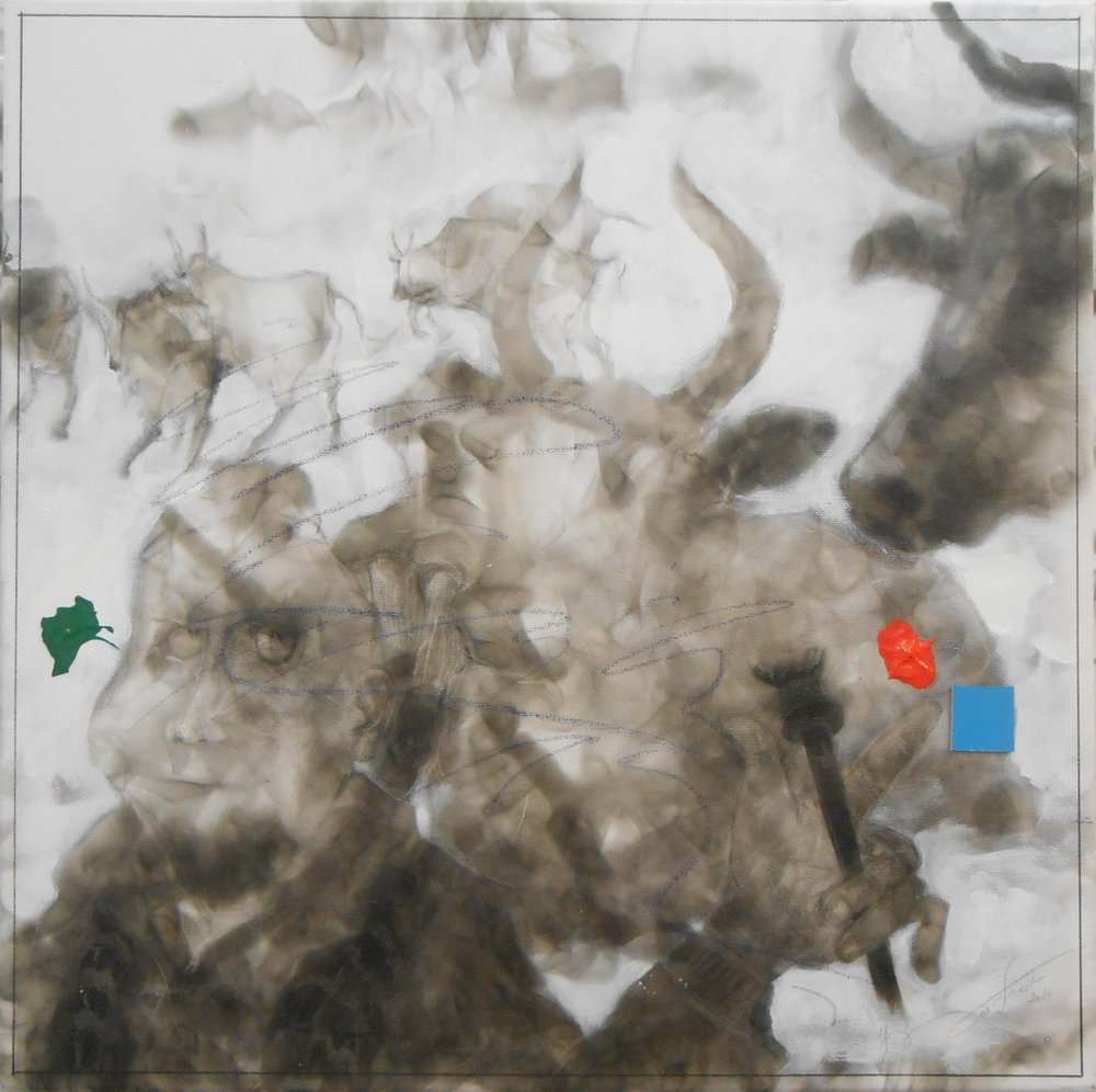 A fool shows us some of his foolery, just not enough of his wisdom- -27,56 x 27,56 inch - fumagine_ to paint with a flame_  acrylic and dots, and movable square on canvas - 2016 - €3080.JPG