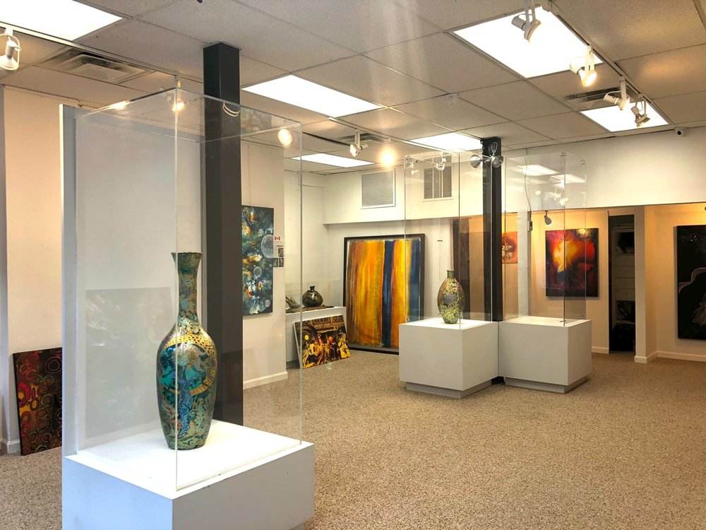 - A 1600 plus sq. feet space, this gallery is a dynamic and exciting venue with art exhibitions specializing in international and local artists. Our spectacular gallery is transformed every three months with new art exhibitions. This venue is a great for family & friends parties, non-profit fundraisers, wedding showers and any kind of intimate gathering. The Gallery is also a great venue for live art shows. We are the gallery of possibilities! We relish in creativity and connection and we're excited to present fine finest artworks to our community of art lovers. We have hosted seminars, acting classes, table reads, product demonstrations and so much more! Very versatile space.