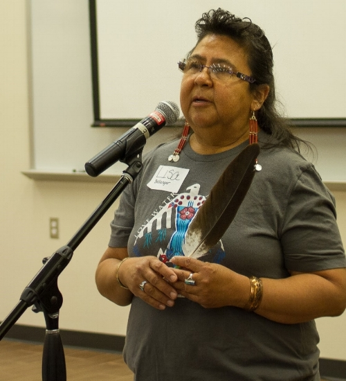 Lisa Bellanger of the Three Fires Cultural Education Society (Minnesota) opened the Seeds of Resilience Summit with a water song composed by the women in her family, the Ojibwe clan of water protectors.