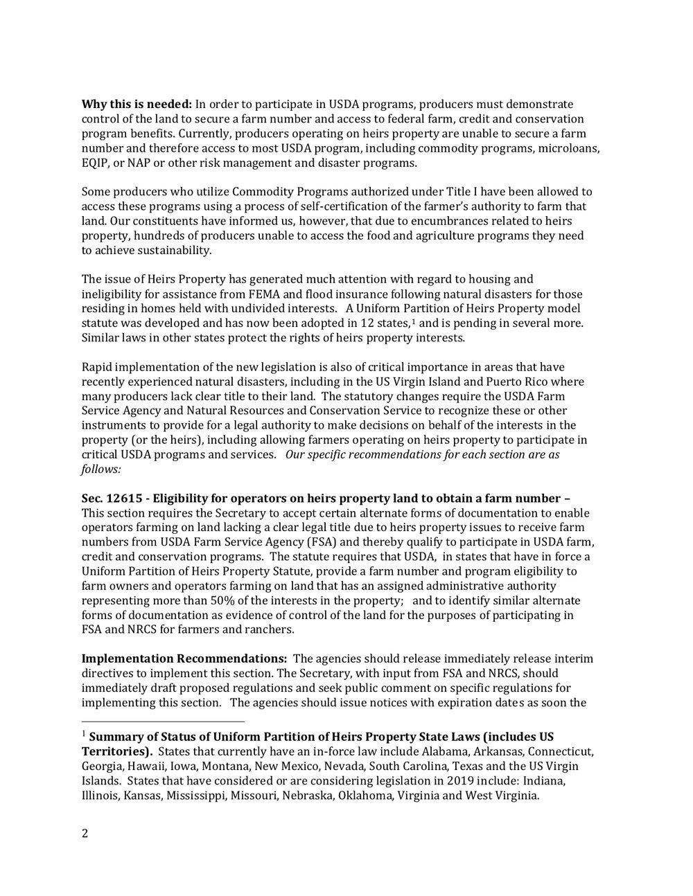 2018 Farm Bill Implementation Recommendations - Rural Co etal final March 1 page 3.jpg