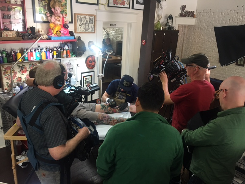 OPB Oregon Art Beat filming at The Hive Tattoo