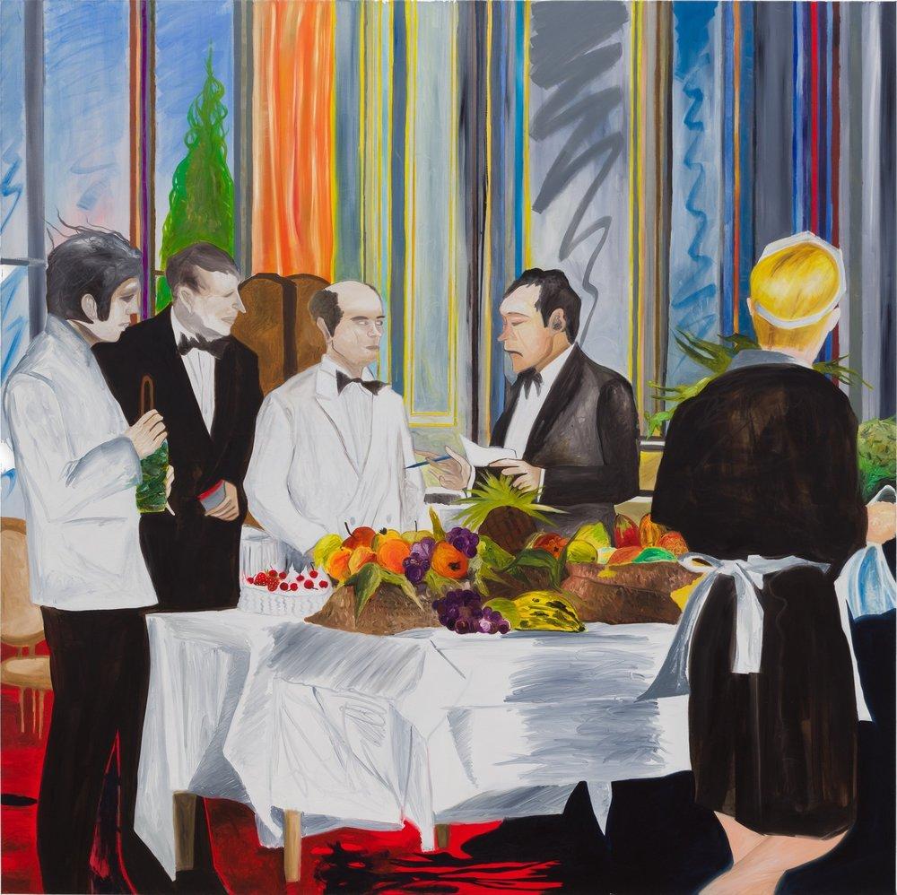 Vor dem Brunch, 2019, oil on canvas, 200x200cm  Amygdala Ikebana  exhibition at Gabriele Senn Galerie, Vienna, Jan 2019