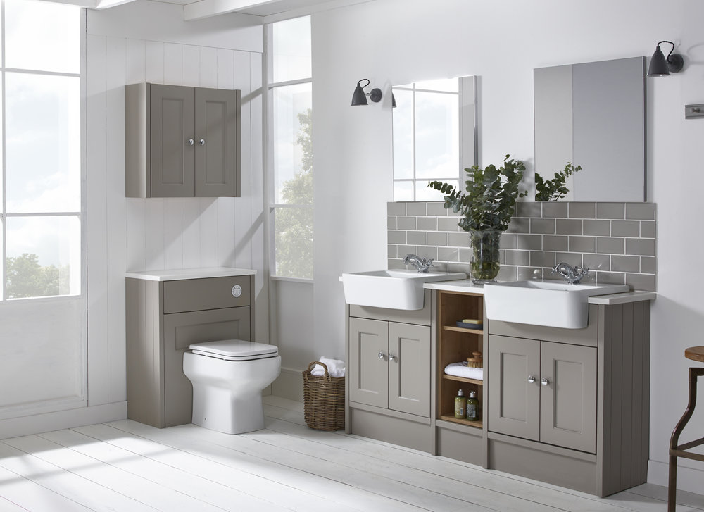 Burford - In a soft off white finish the Burford pebble grey fitted furniture has a classic look with framed doors. A timeless comprehensive range designed to suit any bathroom. Combine the Burford pebble grey finish with the natural oak carcass units to produce a striking contrast.