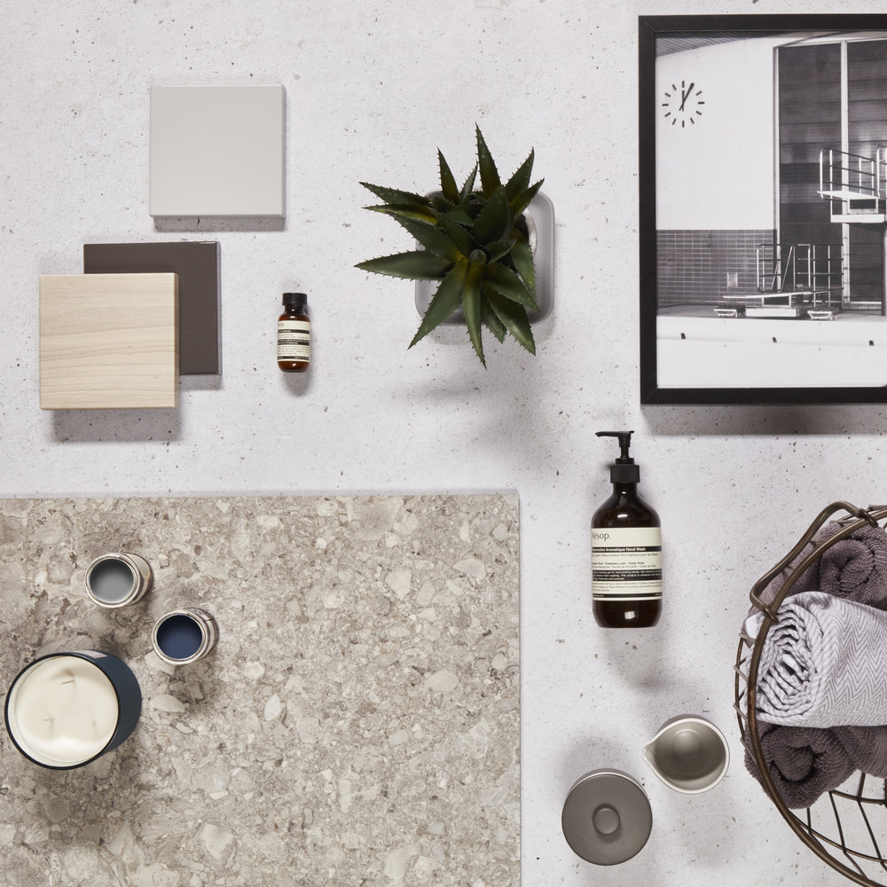 sleek & sophisticated - Recreate the contemporary look in your home by blending clean lines and a monochrome or primary palette. Subway tiles, honed marble or gloss finishes are ideal for a fresh look. Keep bathroom accessories minimal, save the exception of the odd sculptural succulent.