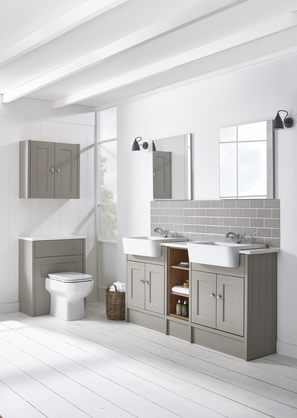 Burford  - The muted tone of Burford mocha fitted furniture adds to its timeless appeal. A classic and comprehensive range designed to suit any bathroom.