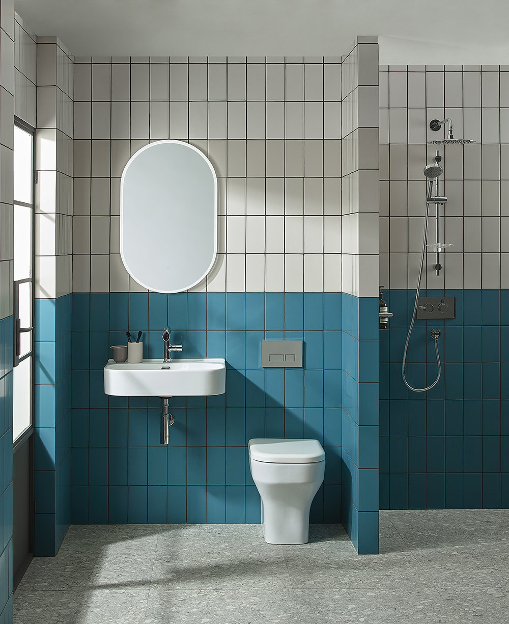 Out with the old - ...in with the new. Coloured grout makes for a bold statement, quickly reviving a drab, dull bathroom.