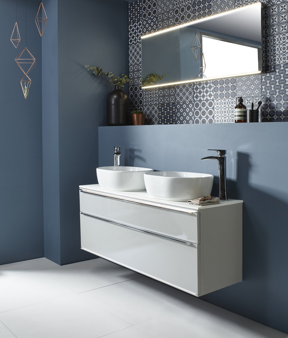 Scheme 1200mm Double Basin Unit in Light Gloss Clay ,  Cell Vessel Basins ,  Sync Tall Basin Mixer With Click Waste .