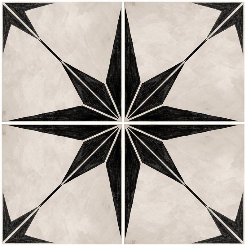 Vinyl Floor Tile Sticker - Astra in Black