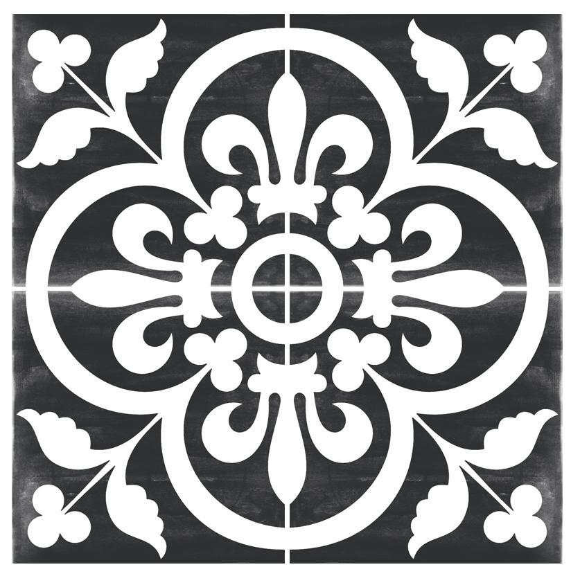 Vinyl Floor Tile Sticker - Devon Stone in Corona Black