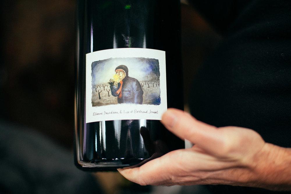 Étiquette d'Étienne Davodeau et vin de Lise & Bertrand Jousset.