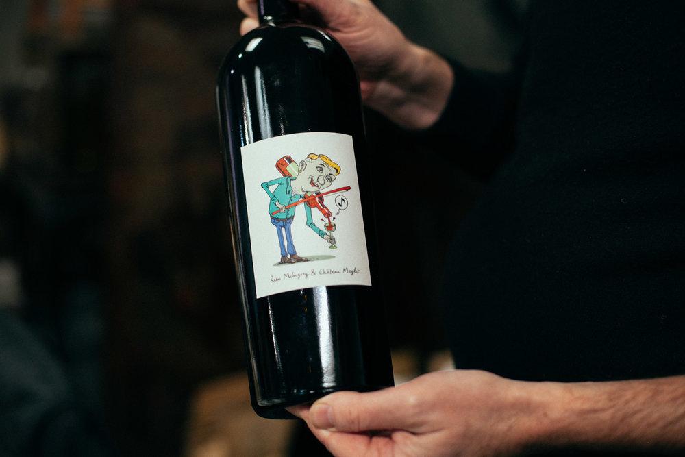 Un autre lot : vin du château Meylet et étiquette de Rémi Malingrey