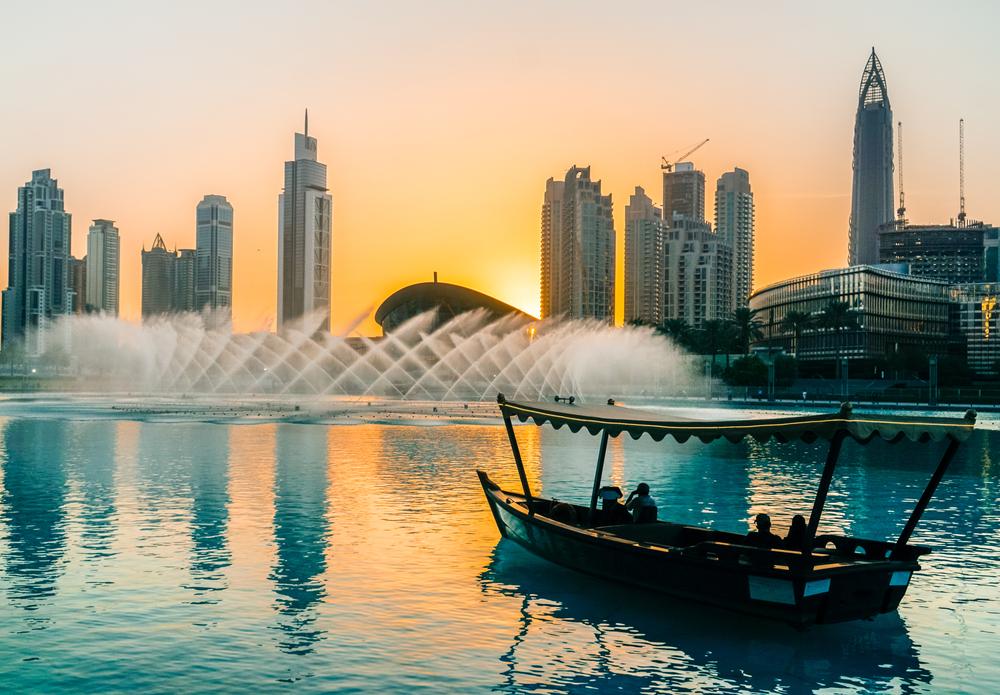 Solnedgang over Dubai Skyline