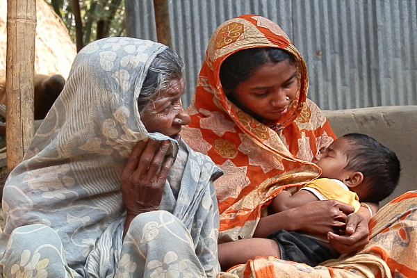 A grandmother, mother and baby in Bangladesh