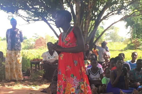 Monica at her women's health group meeting, in Uganda