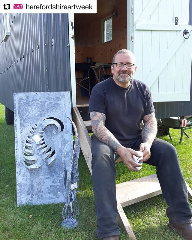 Still time to soak up this year's @herefordshireartweek and meet Herefordshire artists in their open studios ・・・ Neil Lossock @lossocksforge @hArt week venue 125 on his #birthday with one of his fabulous #forged sculptures #blacksmith