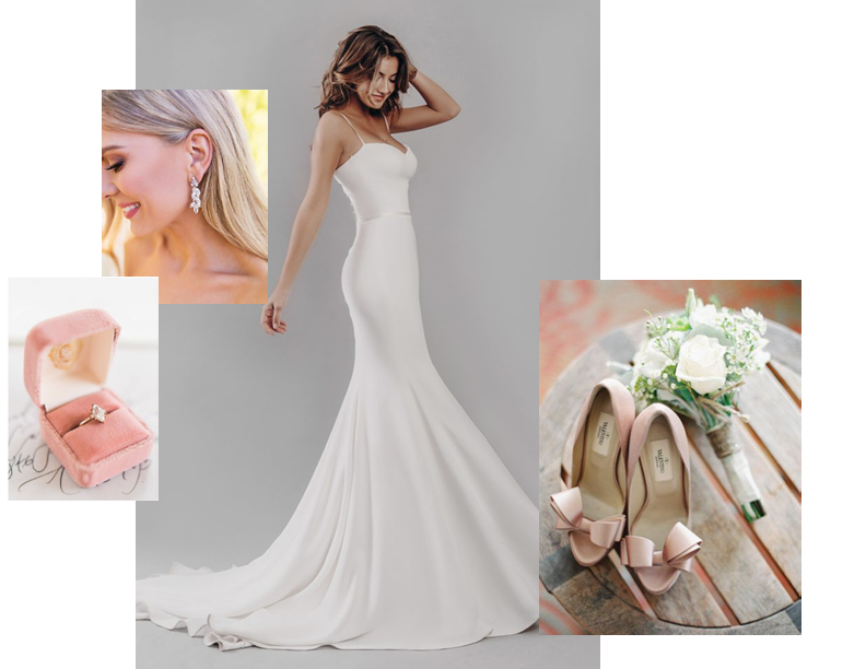 Blushing Beauty - Susannah if perfect for a sun blushed wedding. Introduce subtle textiles with soft velvets and satins to give dimension. Enhance the blush tones with rose gold detailing and Stephanie Browne Swarovski earrings.