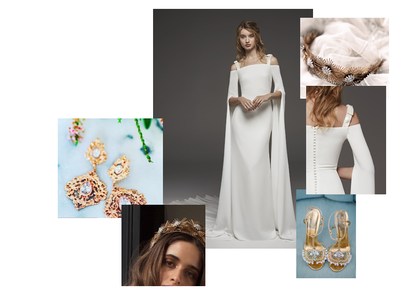 Rays of Gold - Embrace your inner goddess with gold toned accessories and sun embellished tiaras!HIGUERA's dramatic silhouette is perfect for the bold, fashion forward and fearless bride!