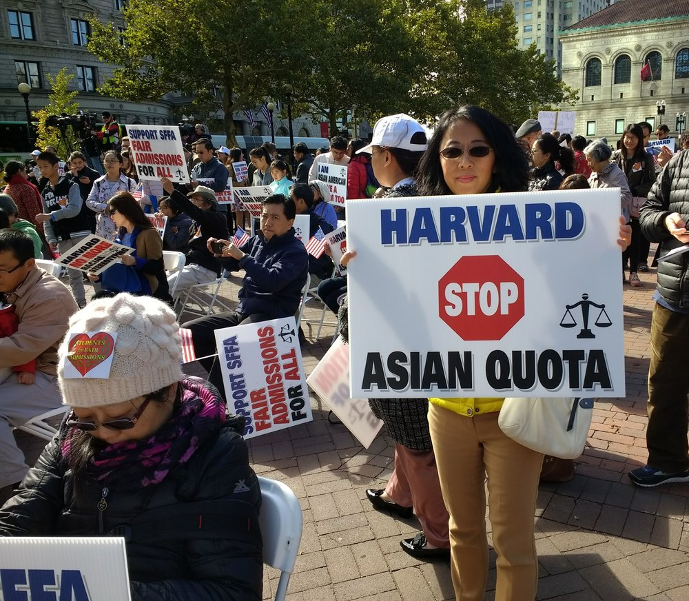 Asian Americans crowd Howard Square in attempts to promote fair admission into Harvard University.  Photo Credit: Wikimedia Commons