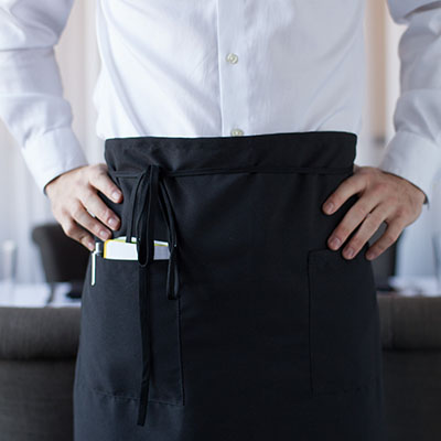 4 Way Apron - 29 X 36 CS, 6.4 OZ. BLACK, WHITE
