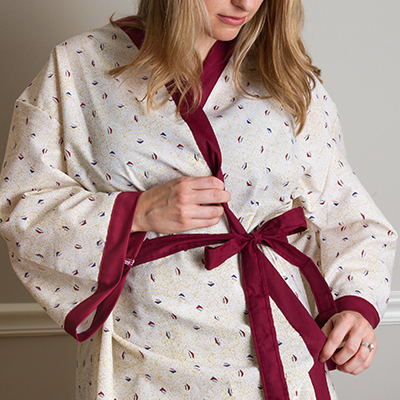 Mammography Robe - 100% POLYESTER, SEWN DOWN REINFORCED BELT