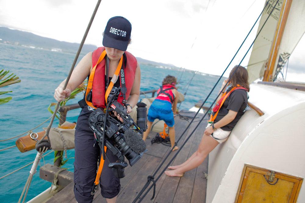 Director Sarah Moshman filming at sea.