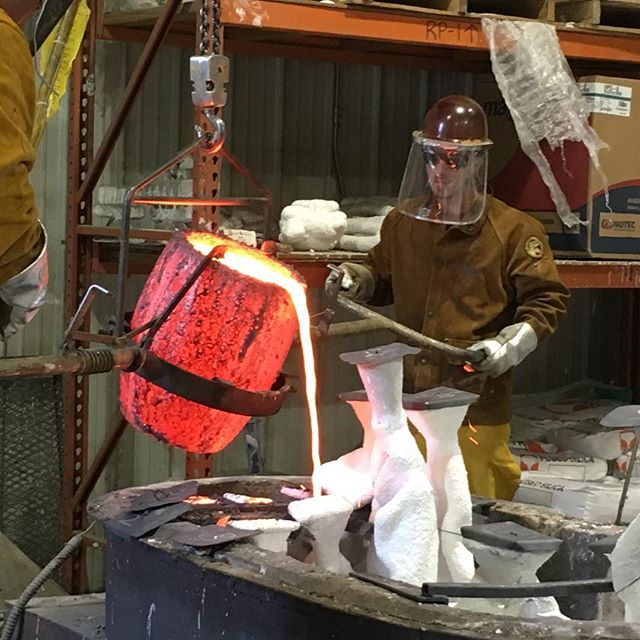 Bronze...It pours like water..... Hanging with the great folks at Inferno today watching bronze casting being poured.  #atlantamakers #foundryarts #atlantaartist #atlantaart #weloveatl #metalarts #atlanta #hotmetal