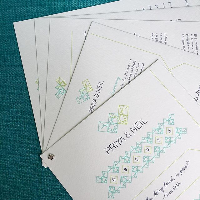 Obsessed with our latest unique #geometric themed project. These modern #weddingprograms are a breath of fresh air! #oksheila