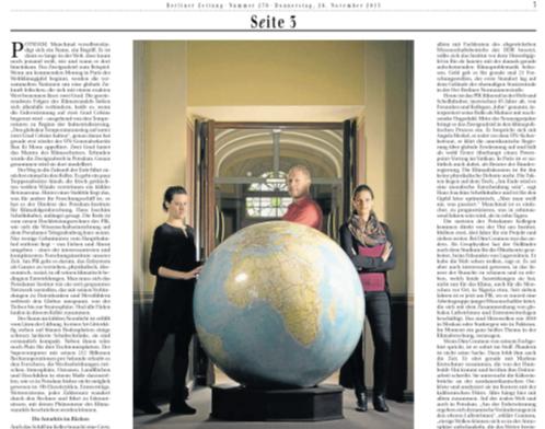 Berliner Zeitung:  Die Weltversteher Artikel von Frank Junghänel November 2015