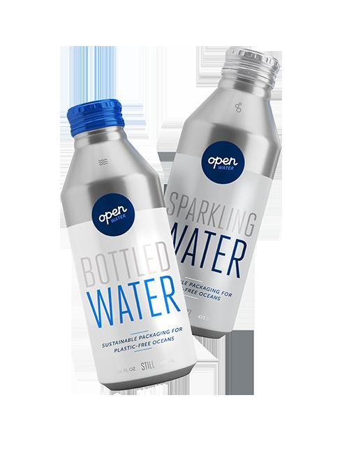 Still and sparkling bottled water in aluminum bottles