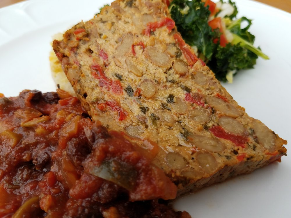 Pinto Bean Loaf with Picadillo Sauce
