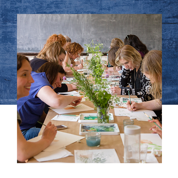 Private class or team building with The Works Seattle (photo of watercolor class)