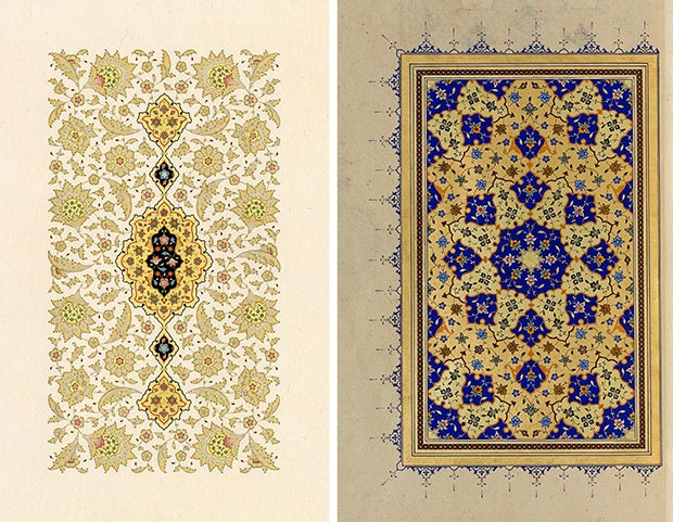 Fatma Özçay L. Halkâr panel, 2015, 54x34 cm / R. Zahriye page, 2004, 9x14 cm / Both handmade polished paper, water color and pure gold.