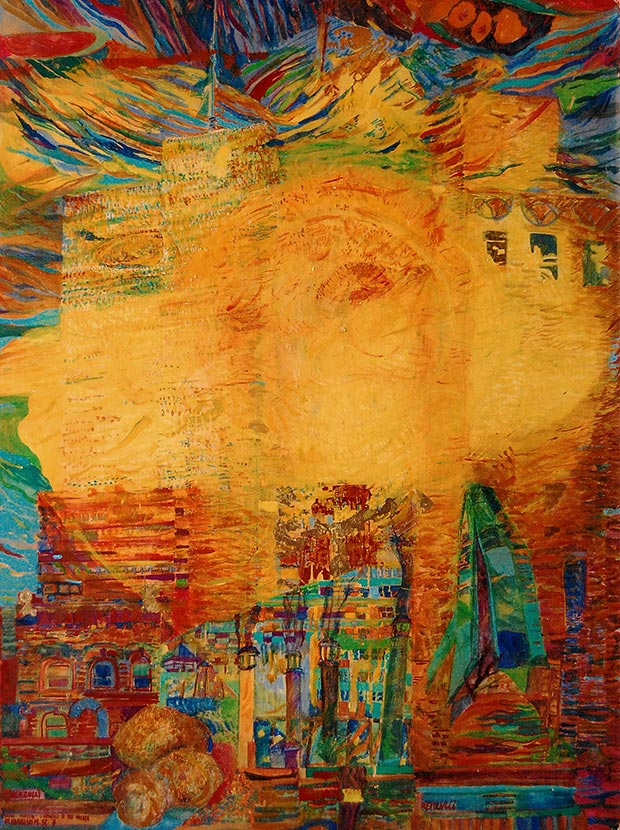 Franco Renzulli, Twin towers + 3 potatoes (from the window in Harisson) , mixed media on canvas, 100x76 cm, New York, 1990 / Courtesy of Made In..Gallery