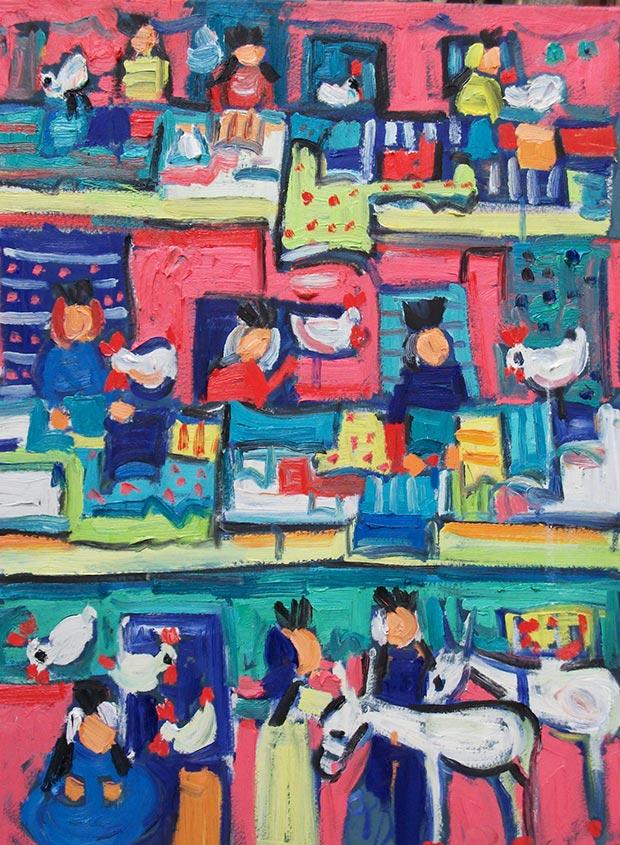 Miriam Hathout, Autentiche donne egiziane, oil on canvas, 2016 / Courtesy of Made In..Gallery