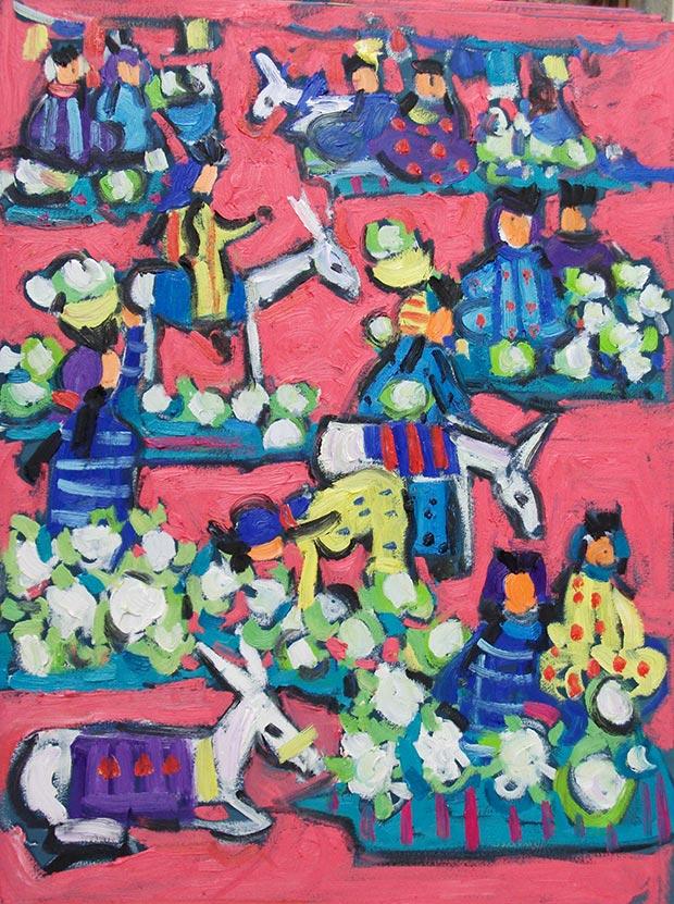Miriam Hathout, Autentiche donne egiziane, oil on canvas, 2016, 60x80 cm / Courtesy of Made In..Gallery
