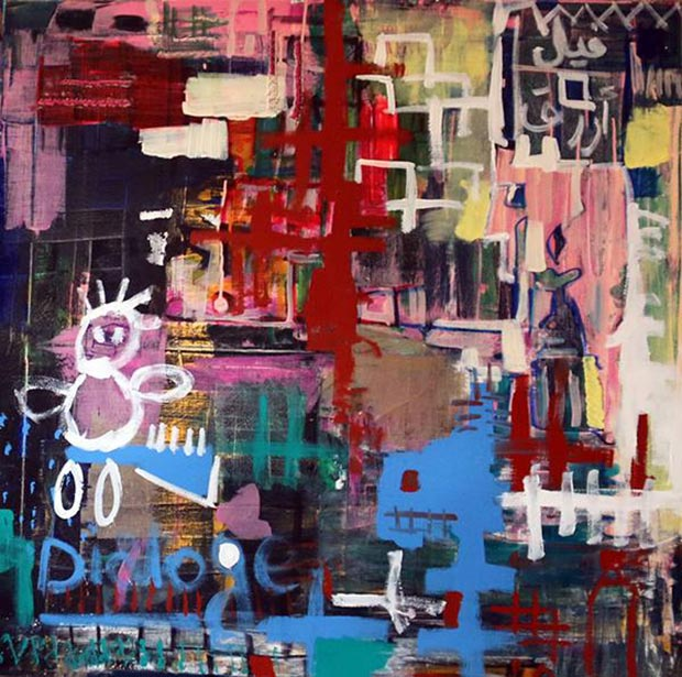 Aya Elfallah, Elephant dialogue, mixed media on canvas, 120x120 cm, 2014 / Courtesy of Made In..Gallery