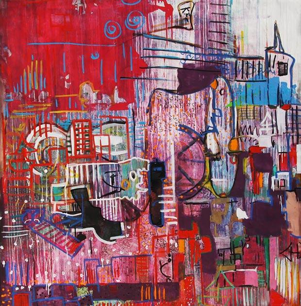 Aya Elfallah, The red city, mixed media on canavs, 2x2m, 2014