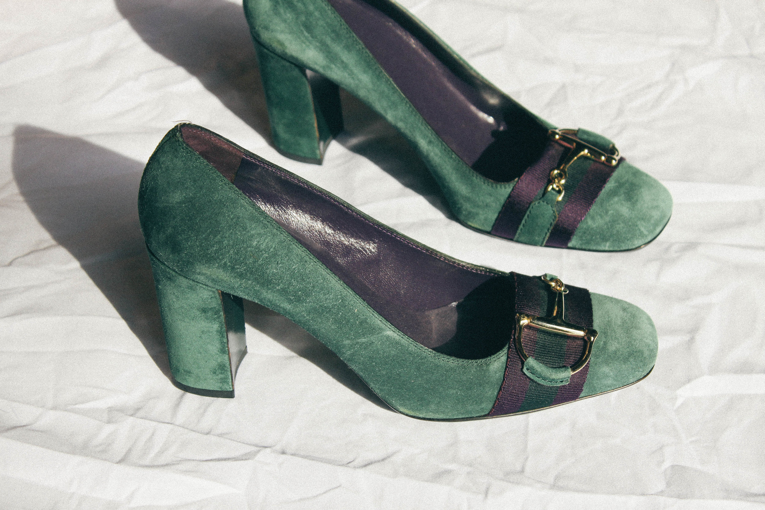 e565f90b53ef Gucci Green Suede Heels — Monica s Boutique and Consignment