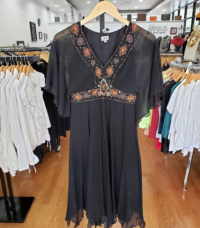 Cache Dress with beading Size 4 Price $39  Stop by our store Monica's Boutique and Consignment,10475 Medlock Bridge Rd # 110, Johns Creek, GA 30097 Tuesday – Saturday | 10am – 6pm Sunday – Monday | Closed, Appt Only Call to ship (770) 623-0062 All sales are final.  #atlantaconsignmentstores #johnscreek #consigndivajc
